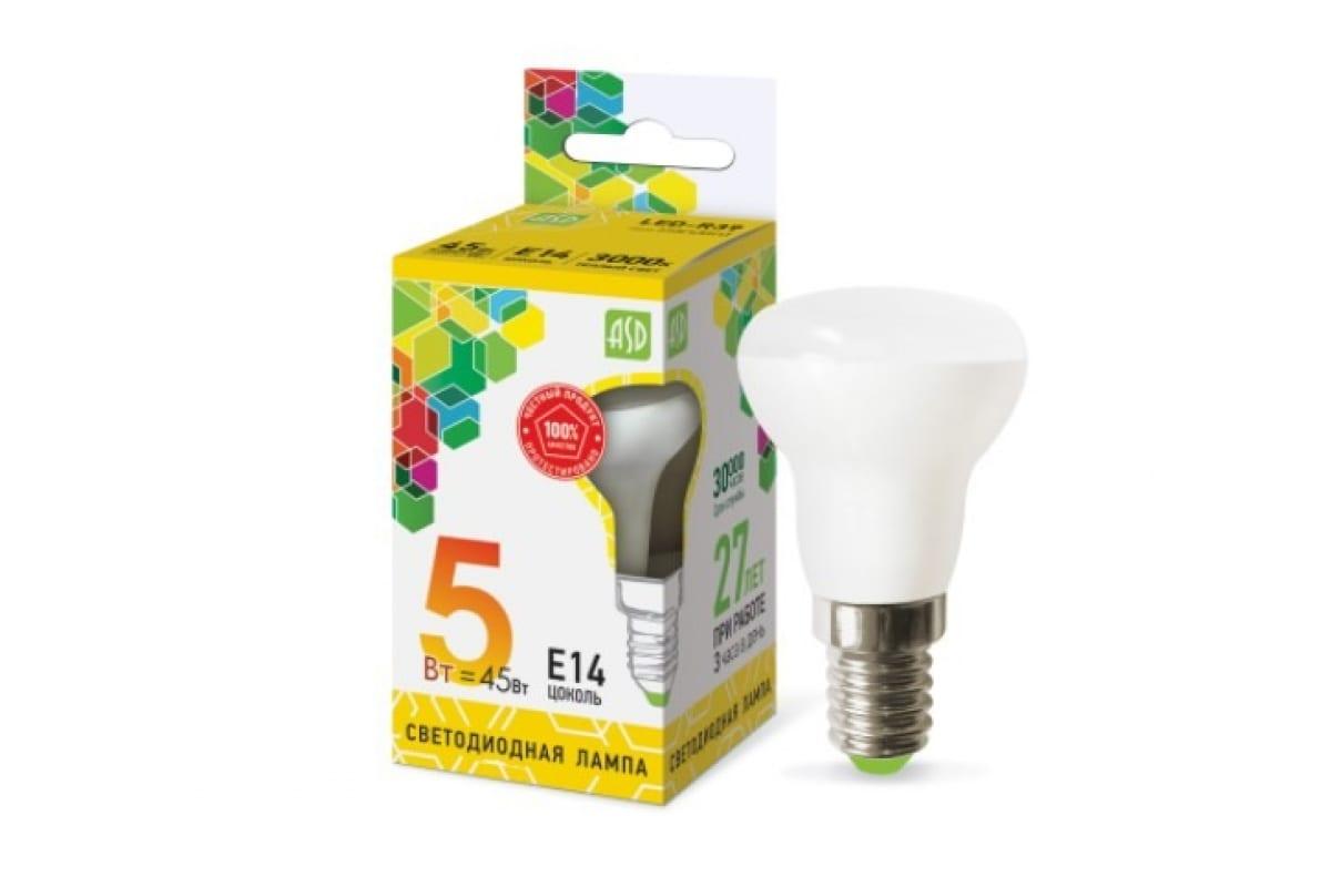 Светодиодная лампа ASD LED-R39-std 5Вт 230В Е14 3000К 450Лм 4690612006697
