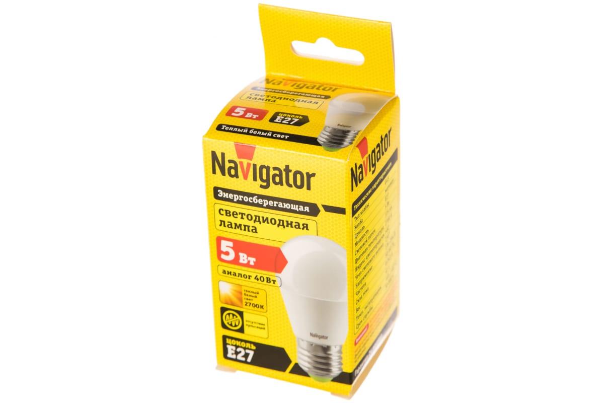 Светодиодная лампа Navigator 94 477 NLL-P-G45-5-230-2.7K-E27 4607136944770 286599