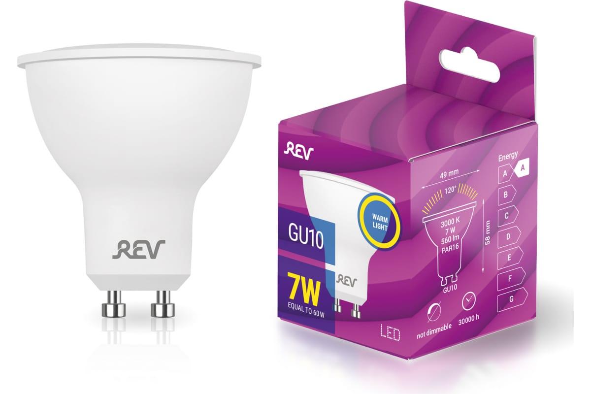 Светодиодная лампа LED PAR16 GU10 7Вт 3000K REV 32330 3