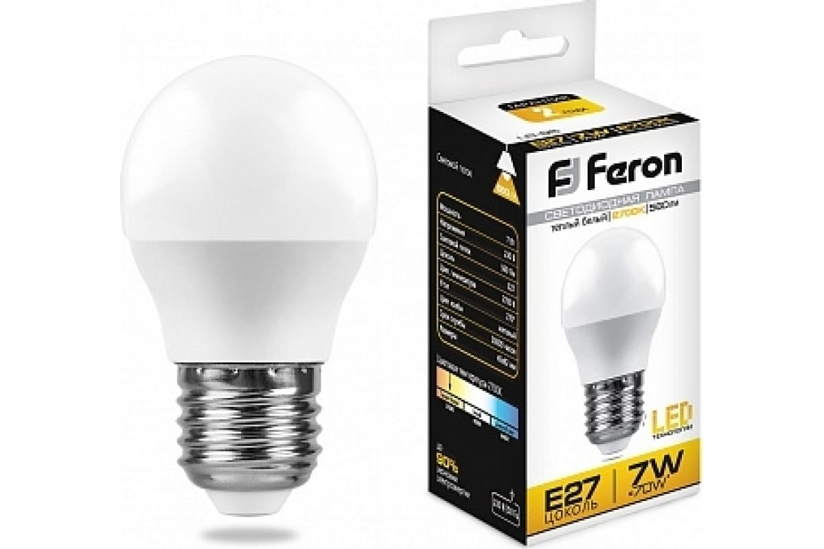 Светодиодная лампа - шарик E27 7W 2700K FERON LB-95 25481