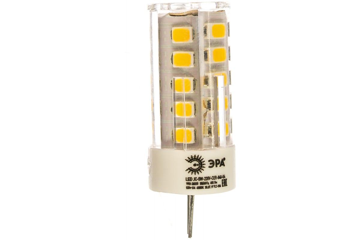 Светодиодная лампа ЭРА LED smd JC-5w-220V-corn ceramics-840-G4 Б0027858