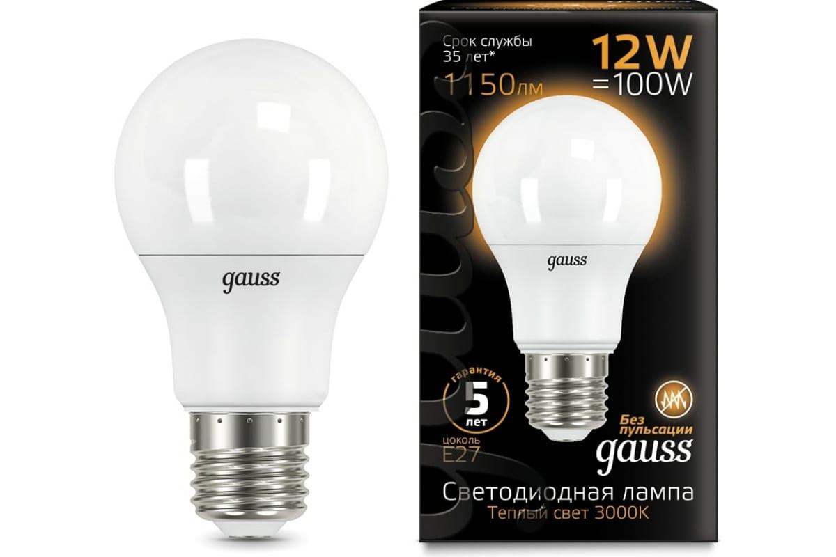 Лампа LED A60 globe 12W E27 3000K Gauss 102502112