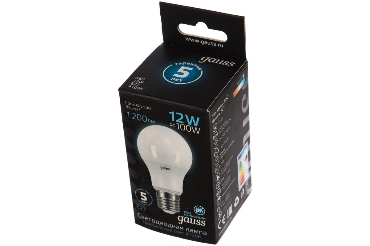 Лампа LED A60 globe 12W E27 4100K Gauss 102502212