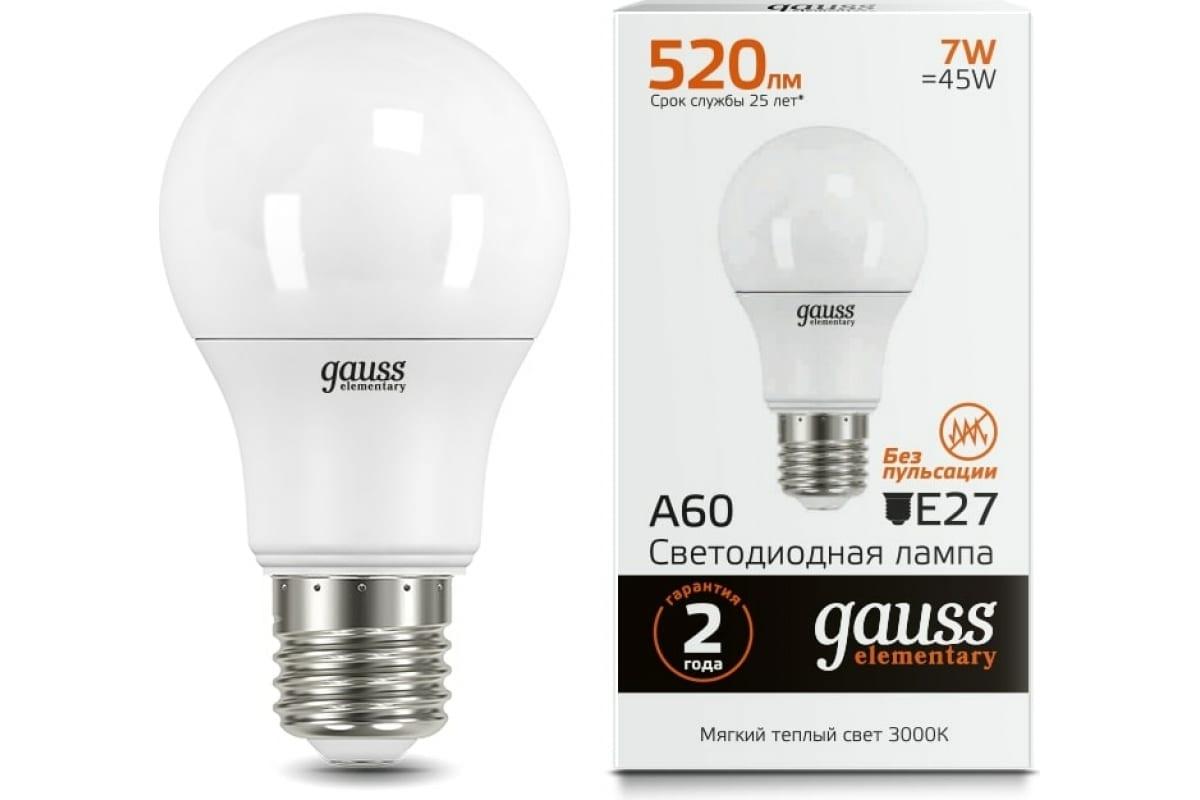 Лампа LED A60 7W E27 3000K Gauss Elementary 23217А