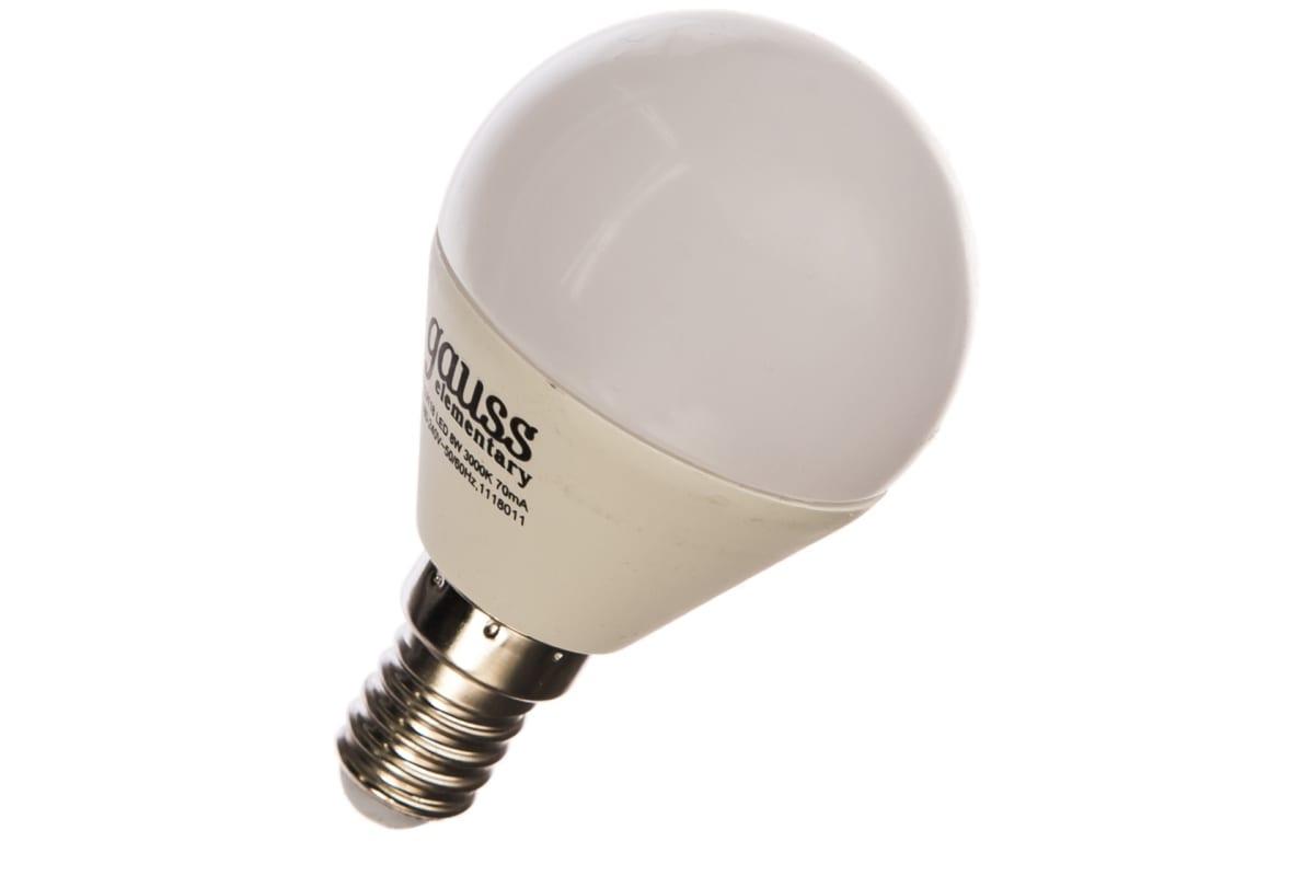 Лампа LED Globe 8W E14 3000K Gauss Elementary 53118