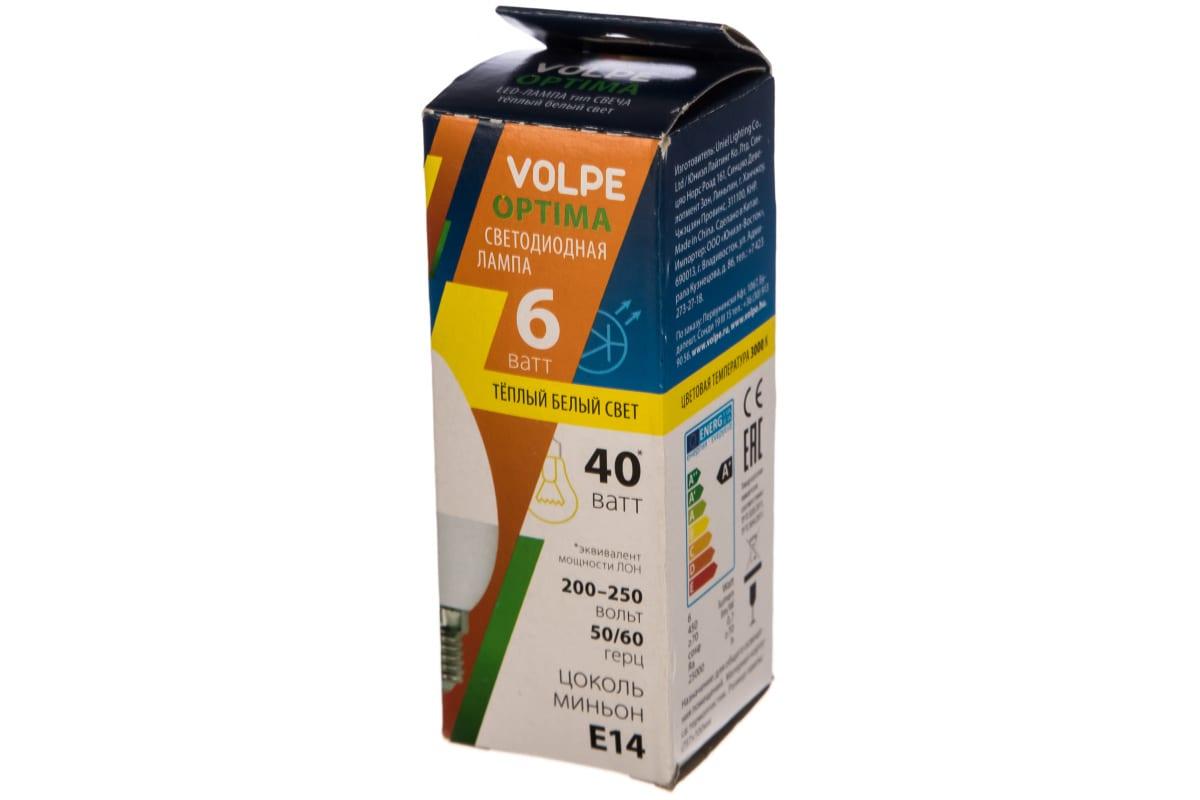 Светодиодная лампа Volpe LED-C37-6W/WW/E14/FR/O 10214