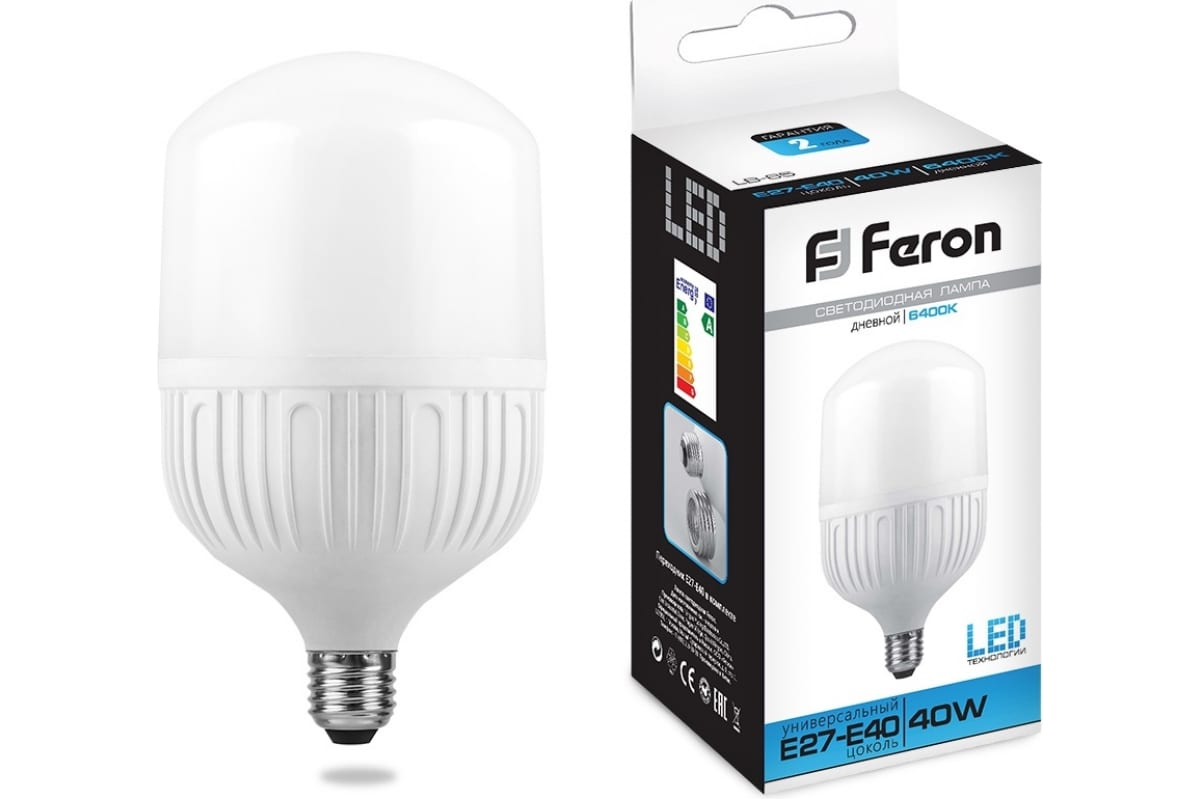 Светодиодная лампа 40W 230V E27 6400K Feron LB-65 25538