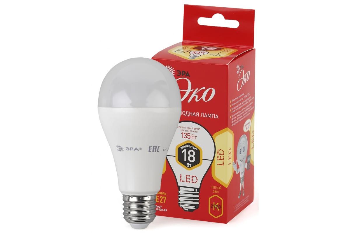Светодиодная лампа ЭРА ECO LED A65-18W-827-E27 Б0031706