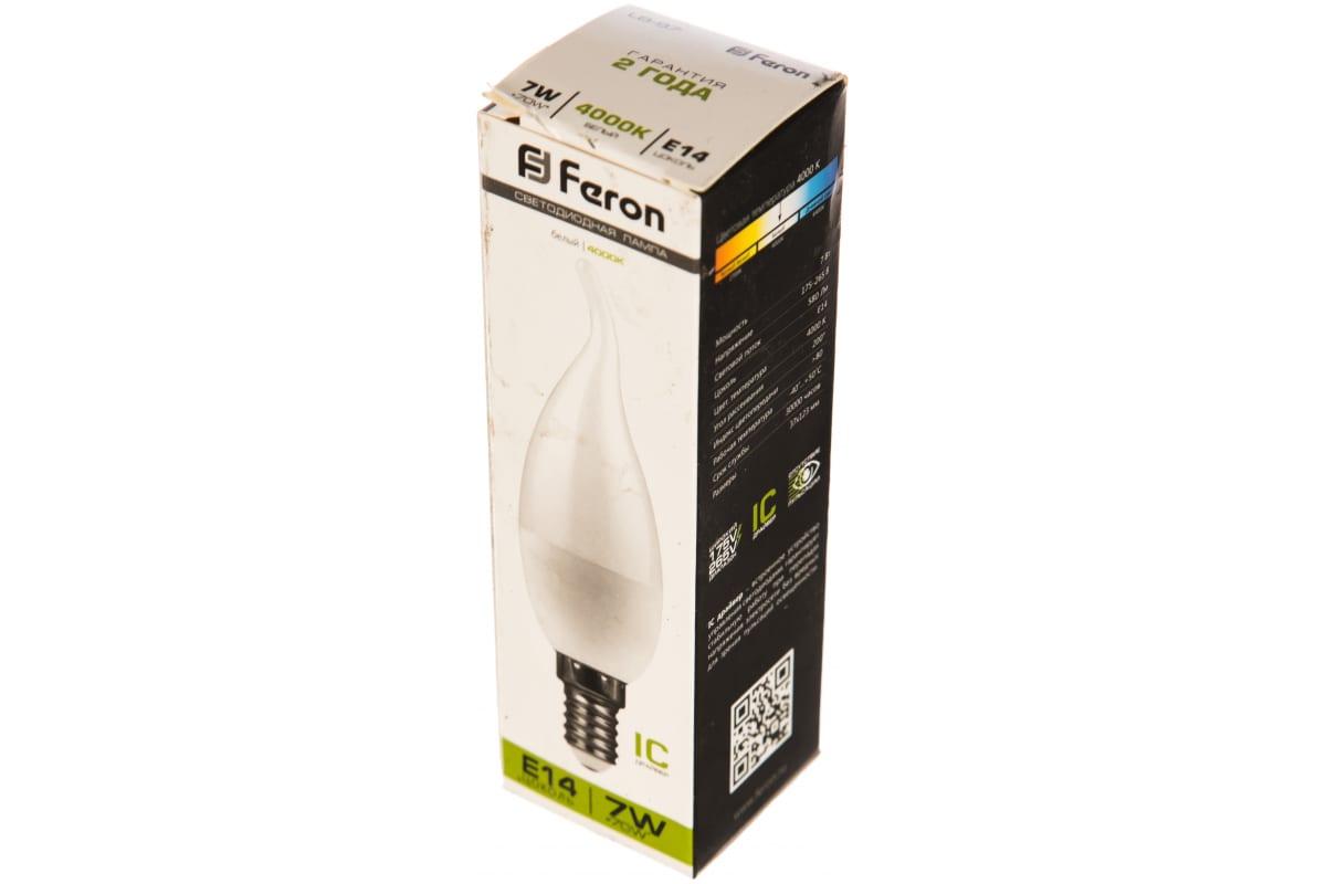 Светодиодная лампа FERON 7W 230V E14 4000K на ветру LB-97 25761