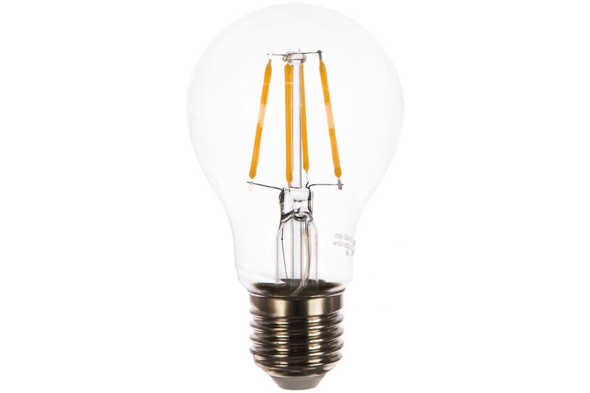 Светодиодная лампа IN HOME LED-A60-deco 5Вт 230В Е27 3000К 450Лм прозрачная 4690612008028