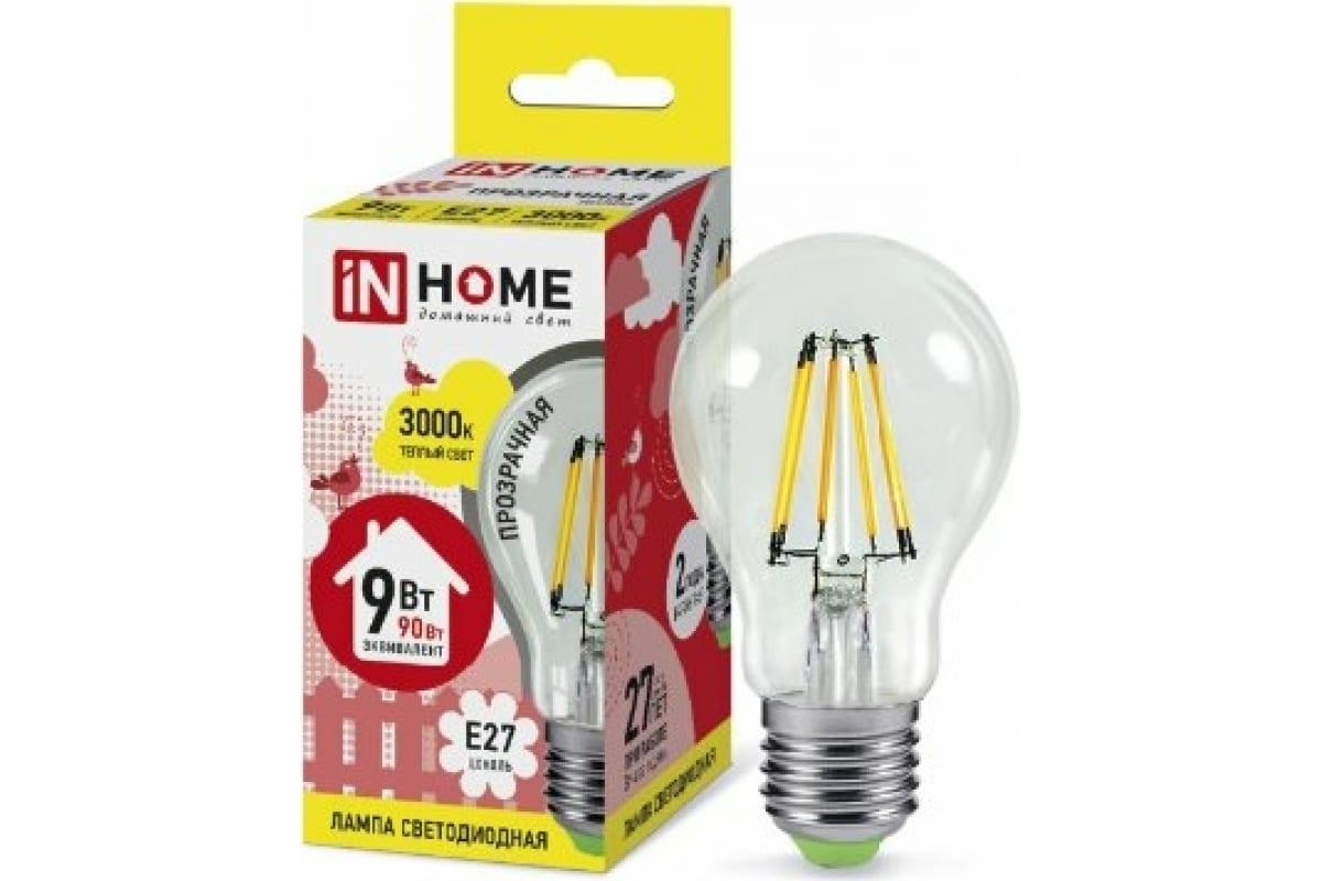 Светодиодная лампа IN HOME LED-A60-deco 9Вт 230В Е27 3000К 810Лм прозрачная 4690612008066