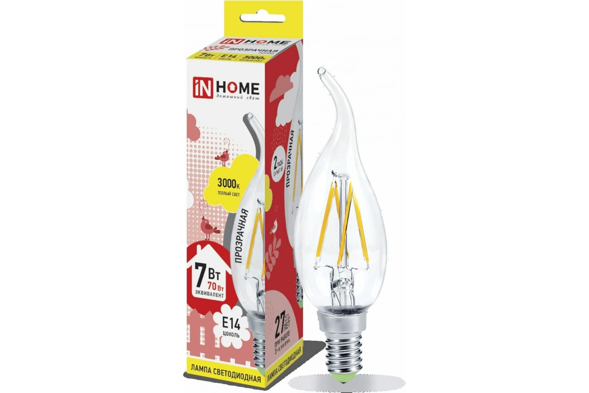 Светодиодная лампа IN HOME LED-СВЕЧА НА ВЕТРУ-deco 7Вт 230В Е14 3000К 630Лм прозрачная 4690612007663