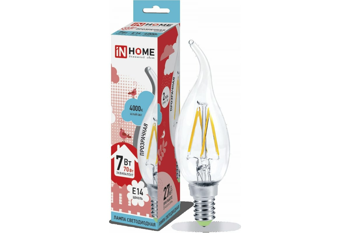 Светодиодная лампа IN HOME LED-СВЕЧА НА ВЕТРУ-deco 7Вт 230В Е14 4000К 630Лм прозрачная 4690612007670
