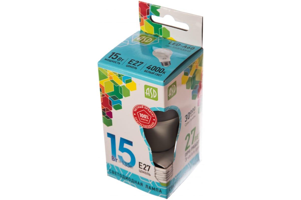 Светодиодная лампа ASD LED-A60-standard 15Вт 230В Е27 4000К 1350Лм 4690612002101