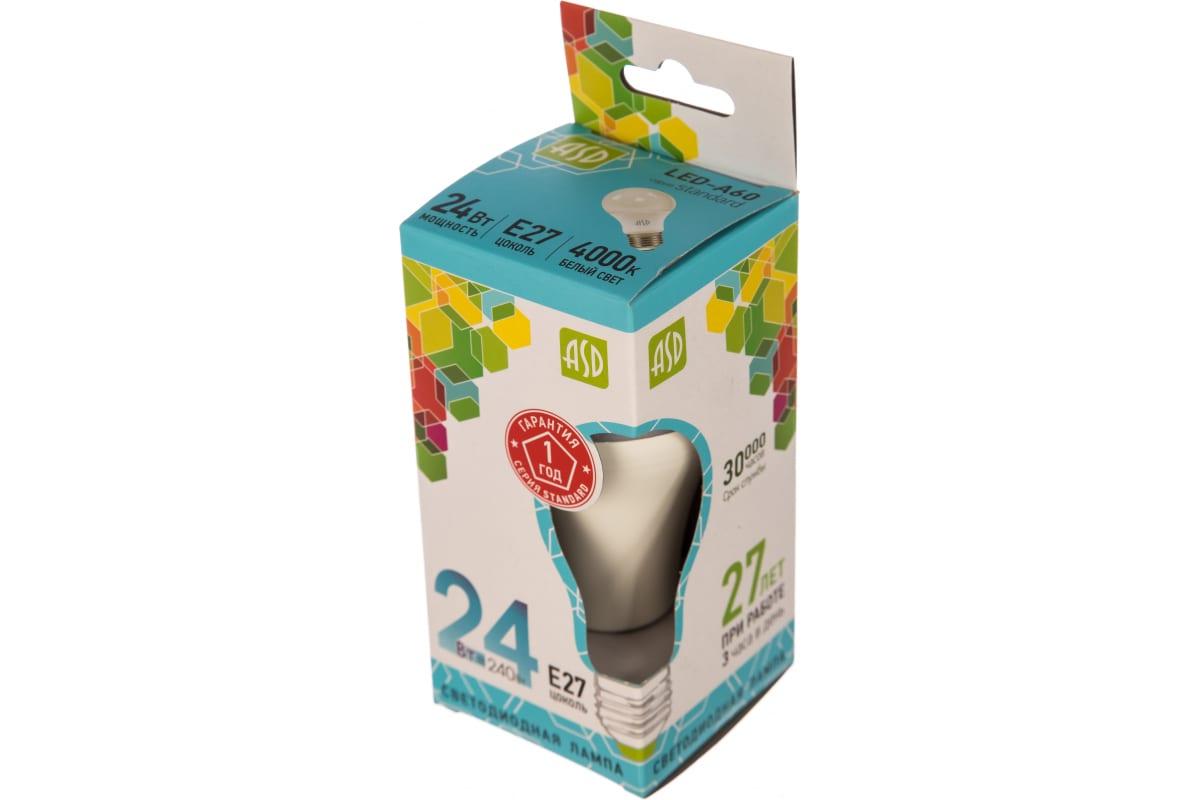Светодиодная лампа ASD LED-A60-standard 24Вт 230В Е27 4000К 2160Лм 4690612014272