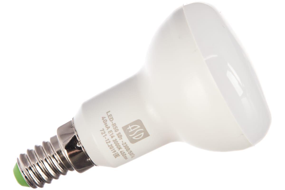 Светодиодная лампа ASD LED-R50-standard 5Вт 230В Е14 3000К 450Лм 4690612001531