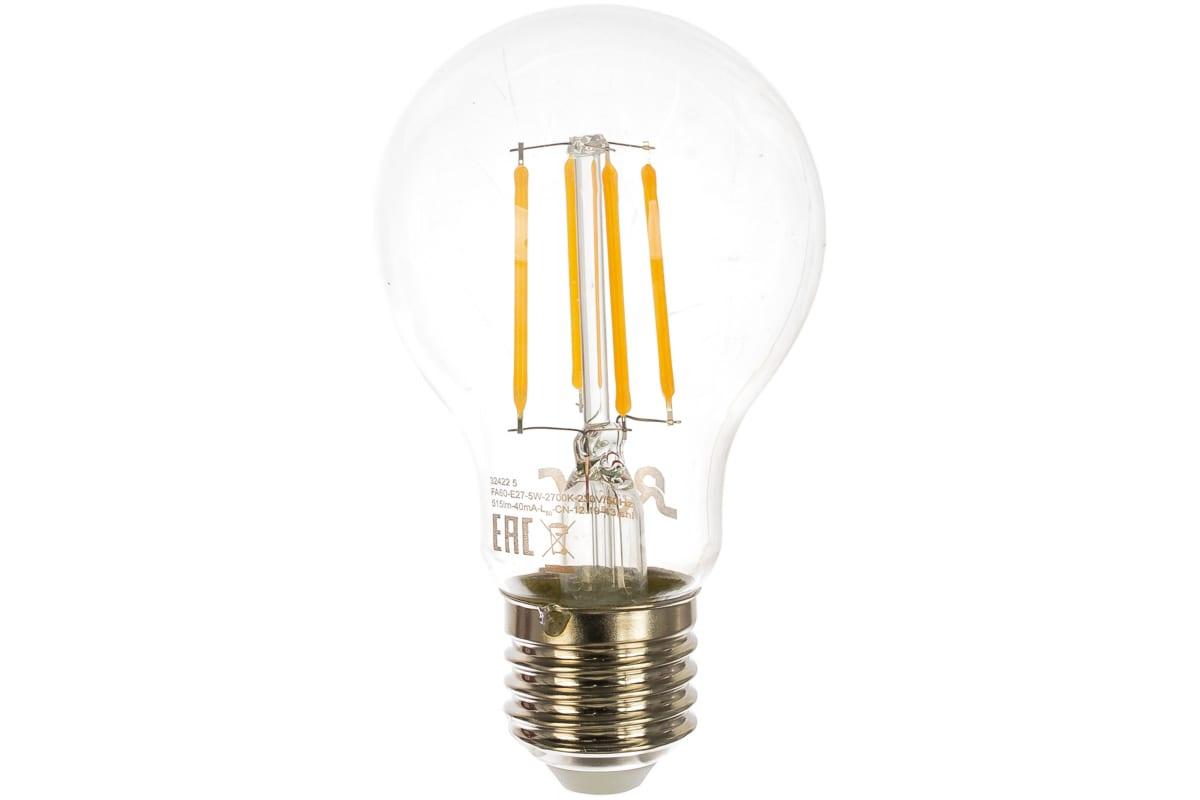 Светодиодная лампа REV FILAMENT груша A60 E27 5W 2700K DECO Premium 32422 5