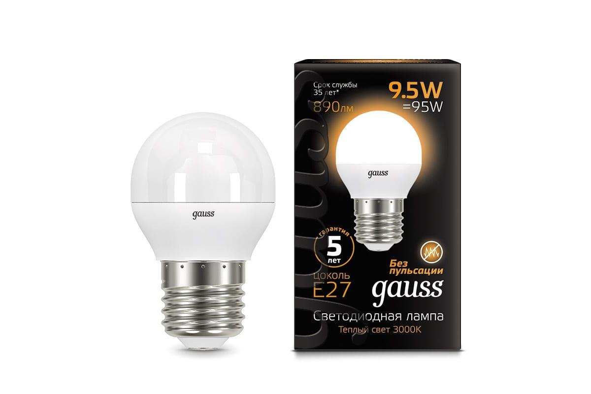 Лампа Gauss LED Шар E27 9.5W 890lm 3000K 105102110