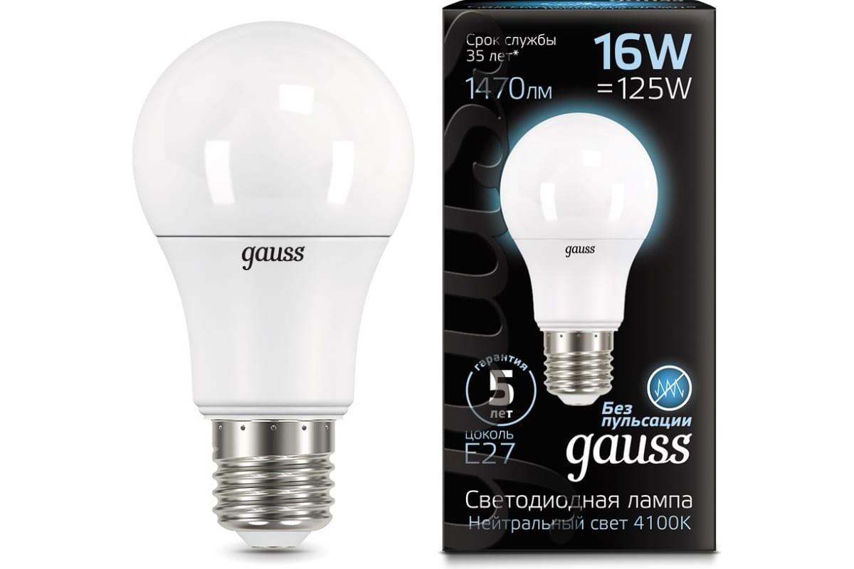 Лампа Gauss A60 16W 1520lm 4100K E27 LED 1/10/50 SQ102502216