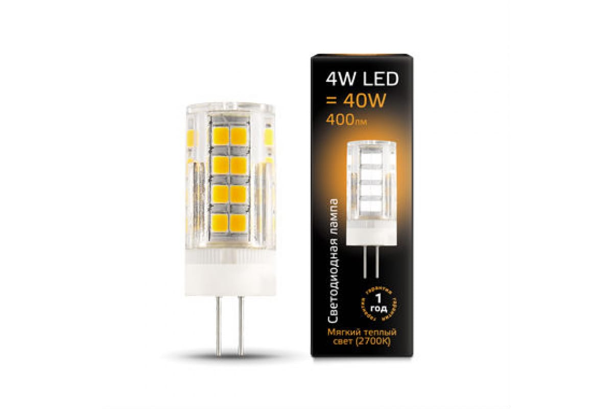 Лампа Gauss LED G4 AC185-265V 4W 400lm 2700K керамика 107307104