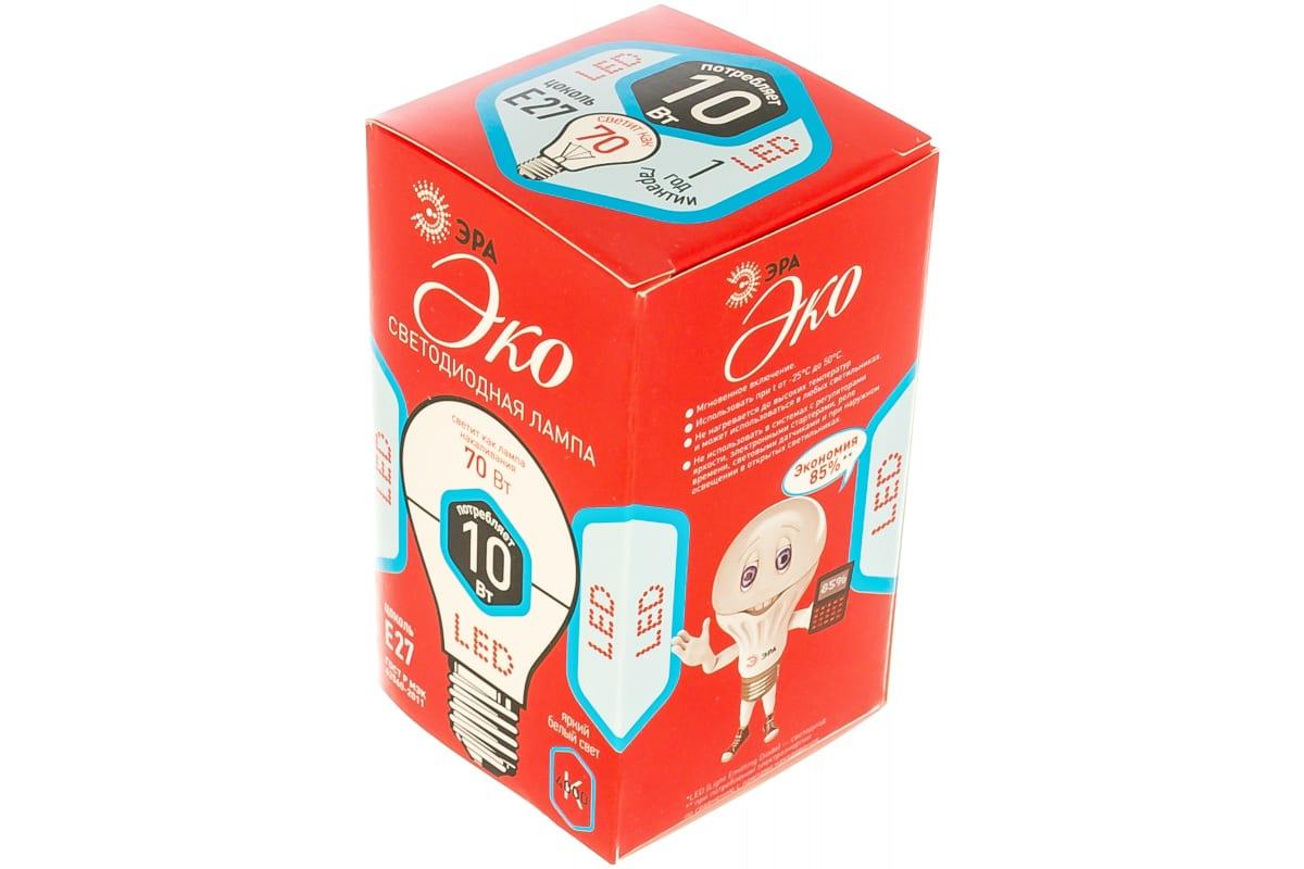 Светодиодная лампа ЭРА ECO LED A60-10W-840-E27 груша нейтральный Б0028005