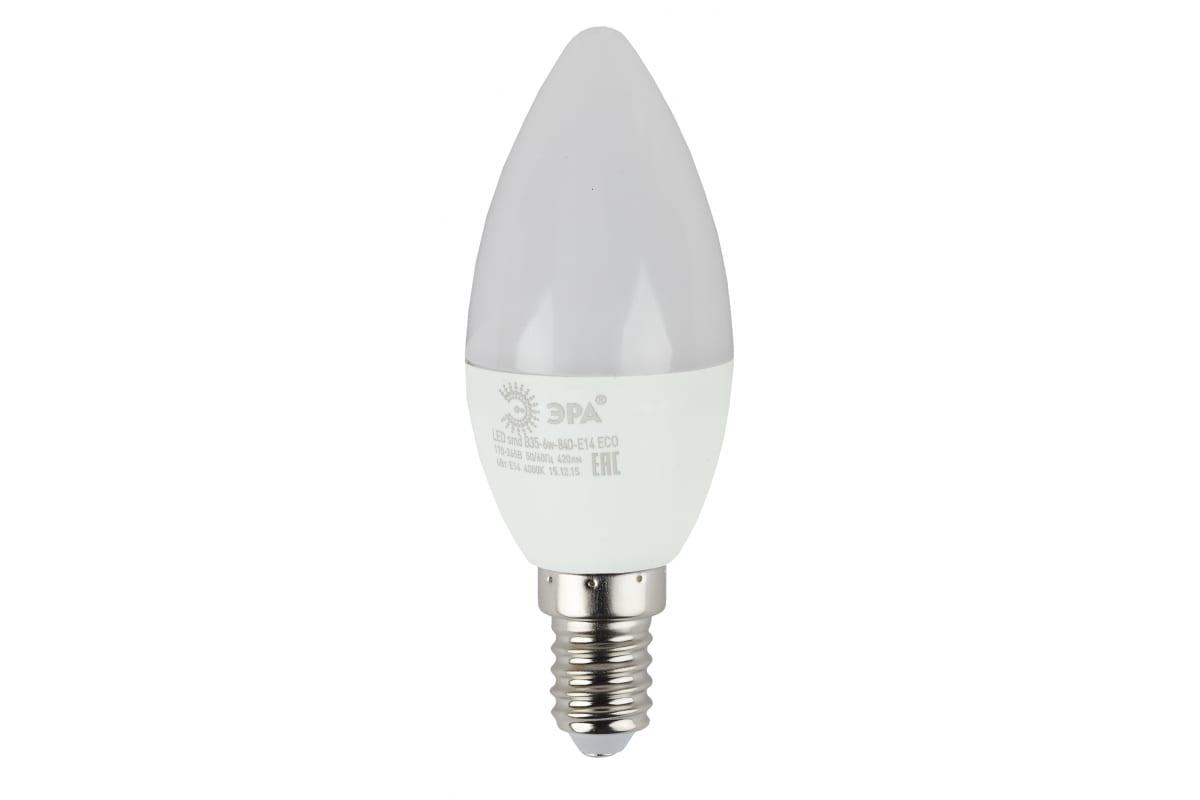 Светодиодная лампа ЭРА ECO LED B35-6W-827-E14 свеча теплый Б0020618