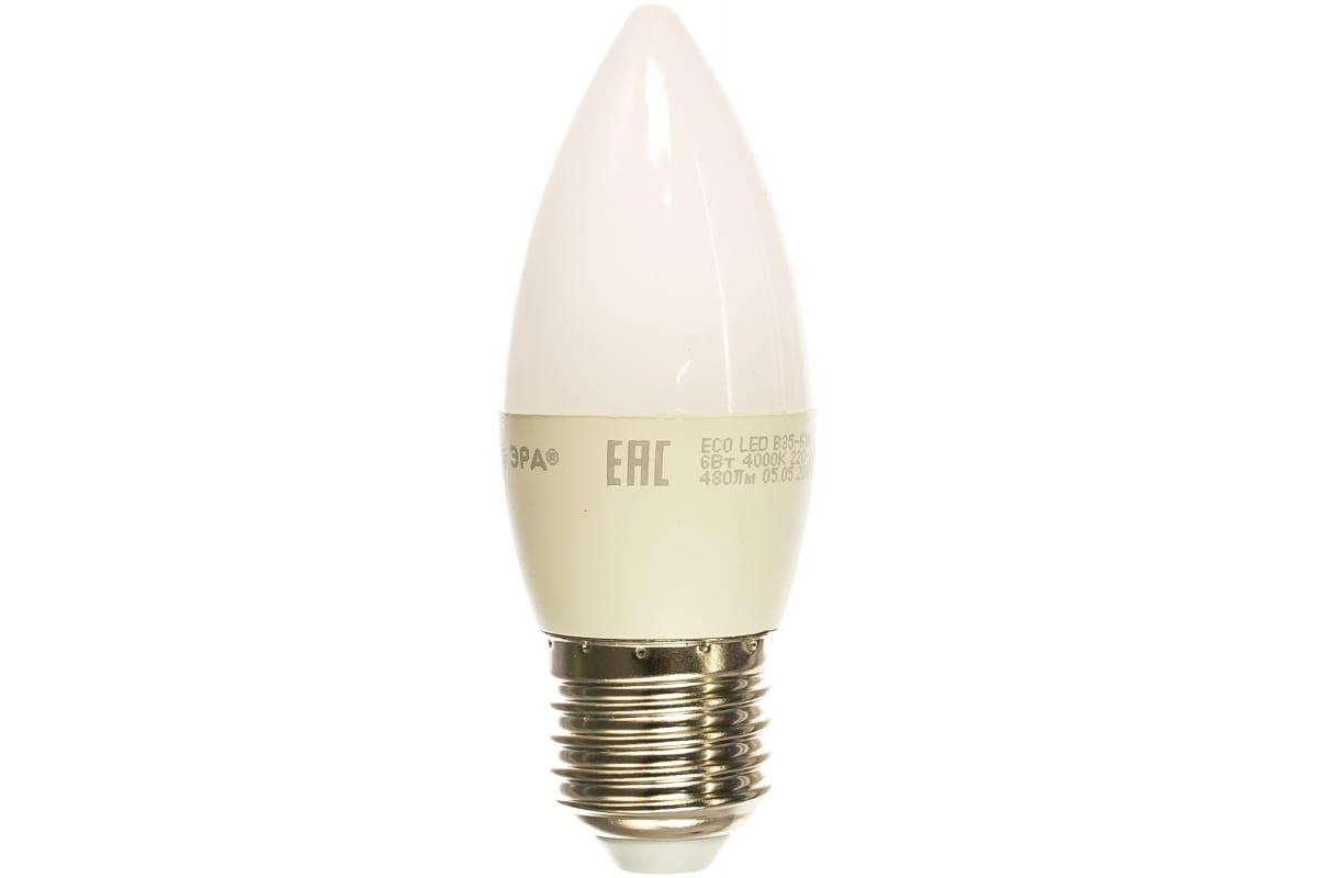 Светодиодная лампа ЭРА ECO LED B35-6W-840-E27 свеча нейтральный Б0020621
