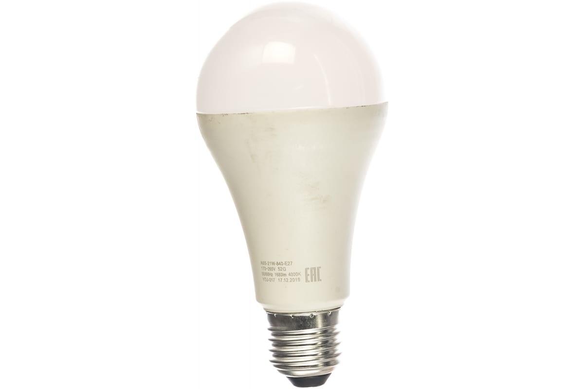 Светодиодная лампа ЭРА LED A65-21W-840-E27 груша нейтральный Б0035332