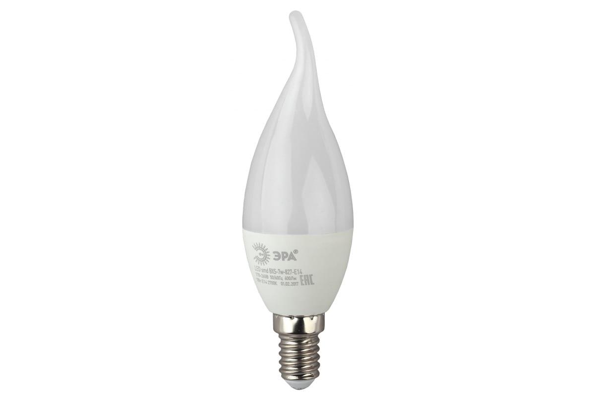 Светодиодная лампа ЭРА LED BXS-7W-827-E14 свеча на ветру теплый Б0028482