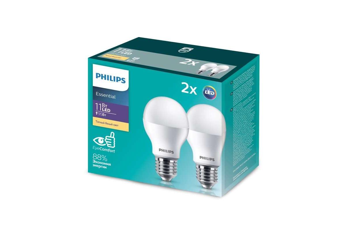Упаковка из 2-х светодиодных ламп PHILIPS ESS LEDBulb 11-95Вт E27 теплый белый свет 530622