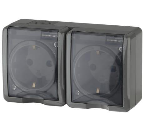 Розетка ЭРА 11-2404-03 2х2P E IP54, шторки, 16A-250В, ОУ, серый Б0020719 в Новороссийске купить по низкой цене: отзывы, характеристики, фото, инструкция