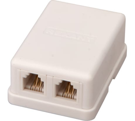 Телефонная розетка Rexant 2 6P-4C 03-0002 - цена, отзывы, характеристики, фото - купить в Москве и РФ