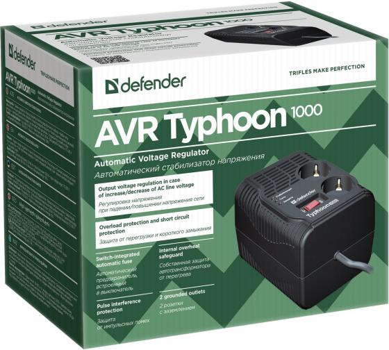 Стабилизатор напряжения Defender AVR Typhoon 1000 320 Вт, 2 розетки 99033 3