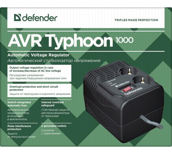 Стабилизатор напряжения Defender AVR Typhoon 1000 320 Вт, 2 розетки 99033 4