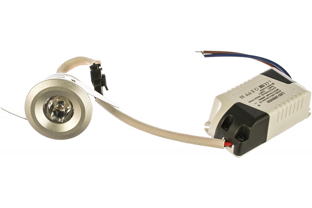 Светодиодный встраиваемый светильник Uniel ULM-R02-1W/WW IP20 Sand Silver, 110-240В 7625