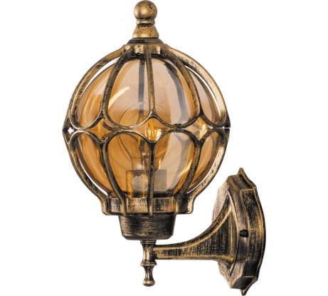 Фото садово-паркового светильника на стену вверх FERON PL3701 круглый 60W 230V E27, черное золото 11349