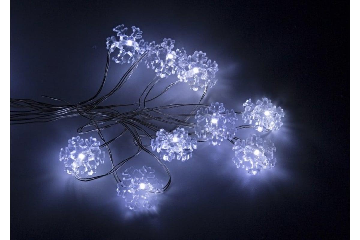 Гирлянда Neon-Night Снежинки 2м, 20 LED белые, 3*AA в комплекте 303-010