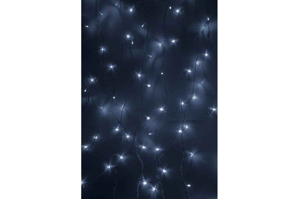 Гирлянда Neon-Night ДОЖДЬ занавес 1.5х1.5м, прозрачный ПВХ, 144 LED БЕЛЫЕ IP20 235-035