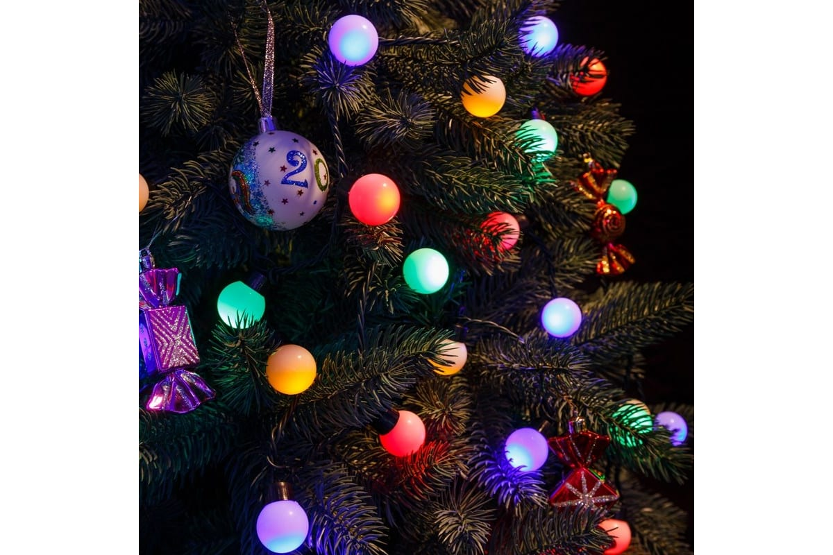 Гирлянда Neon-Night Мультишарики, диаметр 30 мм, 5м, темно-зеленый ПВХ, 25 LED, RGB, 303-569