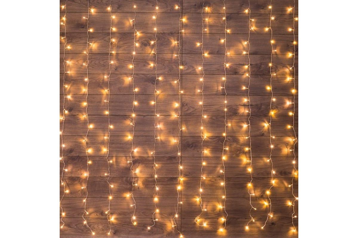 Гирлянда Neon-Night дождь (занавес) 1.5х1 м, прозрачный ПВХ, 96 LED тепло-белые, IP20 235-026