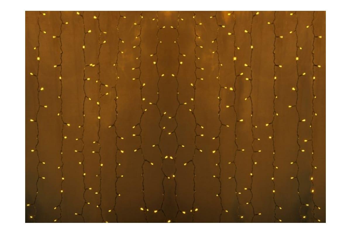 Гирлянда Neon-Night дождь (занавес) 2х1.5м, прозрачный ПВХ, 360 LED желтые 235-301