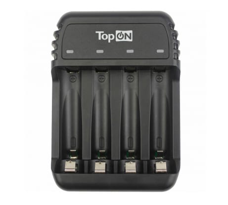 Фото зарядного устройства для 1-4 аккумуляторов типа AA AAA Ni-MH и Ni-Cd TopOn MicroUSB 5V TOP-CH500