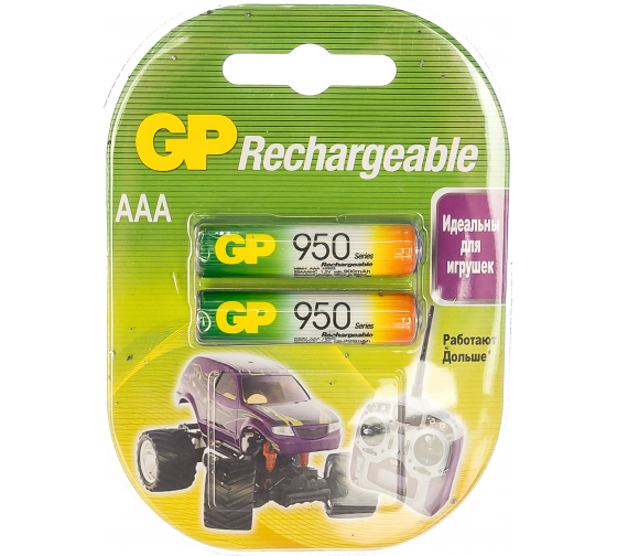 Аккумуляторная батарейка NiMH, 950мАч, 2шт GP 95AAAHC-2DECRC2/95AAAHC-2CR2/95AAAHC-BL2 1