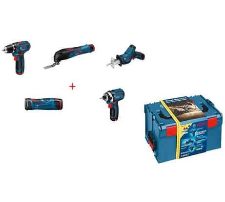 Фото набора аккумуляторных инструментов Bosch 5-в-1 GSR 10,8-2-LI GOP 10,8 V-LI GDR 10,8 V-LI GSA 10,8 V-LI GLI PowerLED оснастка 0615990GE8