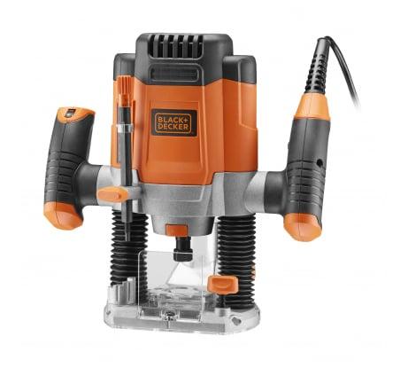 Фото фрезера Black&Decker KW1200E 1200 Вт, регулировка скорости цанги 3 шт., шаблон, направляющая, копировальное приспособление, приспособление для отделки вертикал