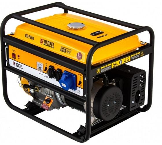 Бензиновый генератор 6,5 кВт, 220В/50Гц, 25 л DENZEL GE 7900 94638 - цена, отзывы, характеристики, фото - купить в Москве и РФ