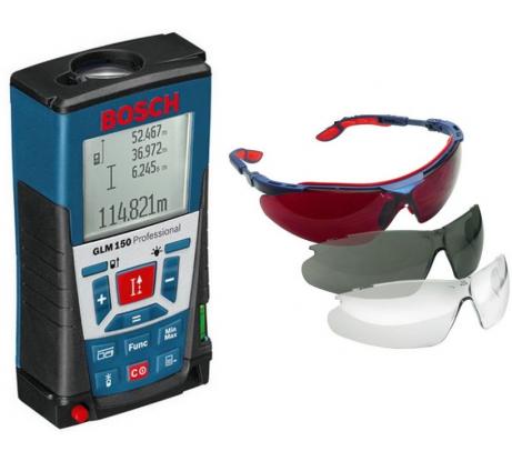 Фото лазерного дальномера Bosch GLM 150 комплект очков UVEX 0.615.994.E04