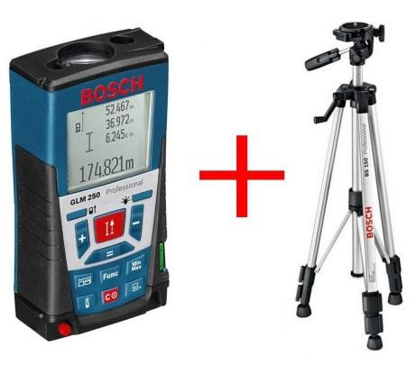 Фото лазерного дальномера Bosch GLM 250 061599402J штатив BS 150