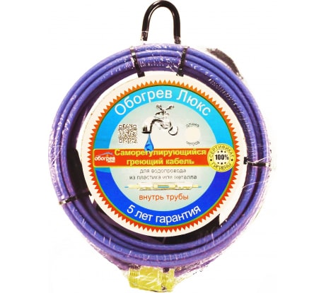 Саморегулирующийся греющий кабель в трубу Обогрев Люкс 5 м. 00-00000968 - цена, отзывы, характеристики, фото - купить в Москве и РФ