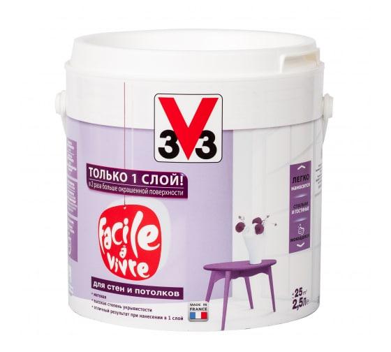Краска для стен и потолка V33 Facile A Vivre глубокоматовая база А 106871 - цена, отзывы, характеристики, фото - купить в Москве и РФ